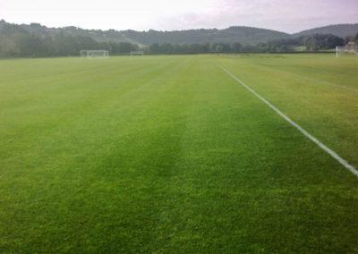 Lawn maintenance at a football pitch