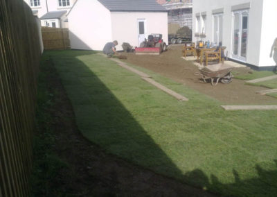 Laying lawn at new houses in Tavistock